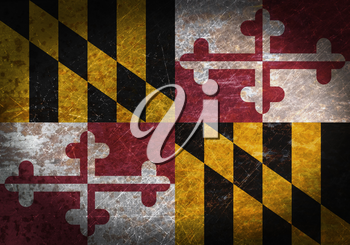 Old rusty metal sign with a flag - Maryland