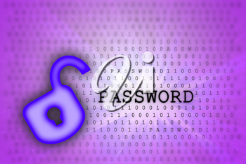 Abstract background, binary code and lock icon - Security concept