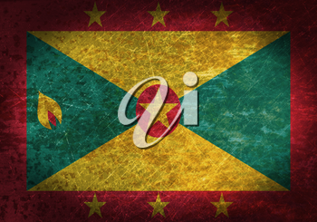 Old rusty metal sign with a flag - Grenada
