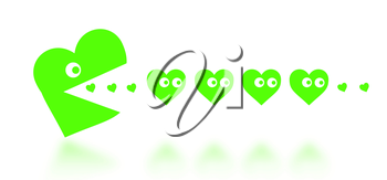 Concept of dating - big Pacman heart hunting small hearts - green