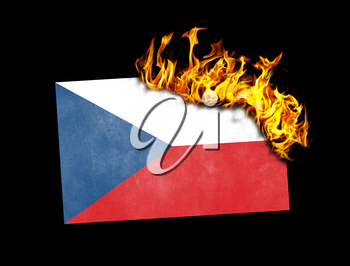 Flag burning - concept of war or crisis - Czech Republic