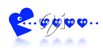 Concept of dating - big Pacman heart hunting small hearts - blue