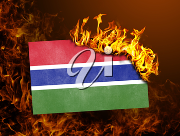 Flag burning - concept of war or crisis - Gambia