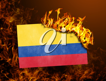 Flag burning - concept of war or crisis - Colombia