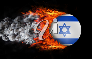 Concept of speed - Flag with a trail of fire and smoke - Israel