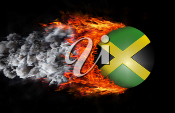 Concept of speed - Flag with a trail of fire and smoke - Jamaica