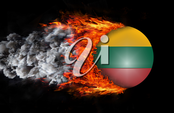 Concept of speed - Flag with a trail of fire and smoke - Lithuania