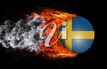 Concept of speed - Flag with a trail of fire and smoke - Sweden