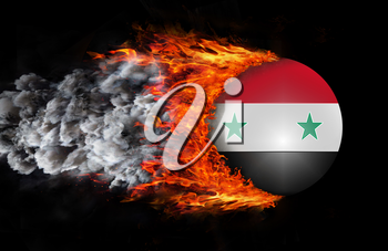 Concept of speed - Flag with a trail of fire and smoke - Syria