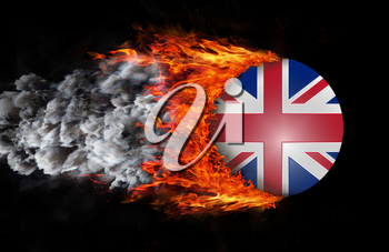 Concept of speed - Flag with a trail of fire and smoke - United Kingdom