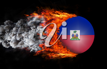 Concept of speed - Flag with a trail of fire and smoke - Haiti