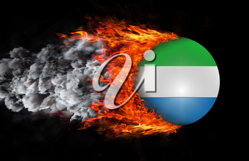 Concept of speed - Flag with a trail of fire and smoke - Sierra Leone