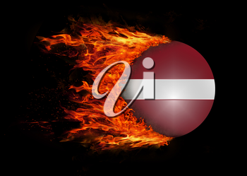 Concept of speed - Flag with a trail of fire - Latvia