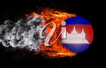 Concept of speed - Flag with a trail of fire and smoke - Cambodia