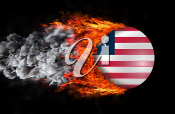 Concept of speed - Flag with a trail of fire and smoke - Liberia
