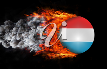Concept of speed - Flag with a trail of fire and smoke - Luxembourg