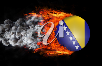 Concept of speed - Flag with a trail of fire and smoke - Bosnia