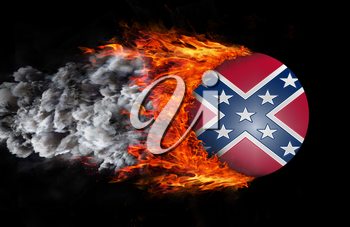 Concept of speed - Flag with a trail of fire and smoke - Confederate flag