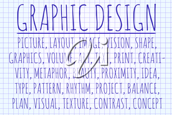 Graphic design word cloud written on a piece of paper