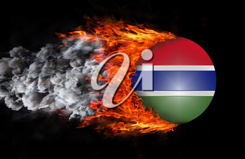 Concept of speed - Flag with a trail of fire and smoke - Gambia
