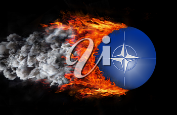 Concept of speed - Flag with a trail of fire and smoke - NATO