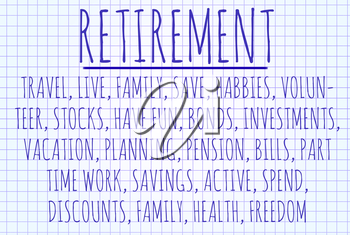 Retirement word cloud written on a piece of paper