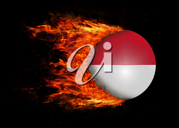 Concept of speed - Flag with a trail of fire - Indonesia