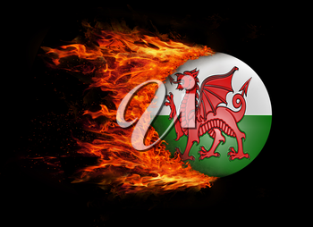 Concept of speed - Flag with a trail of fire - Wales