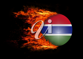 Concept of speed - Flag with a trail of fire - Gambia