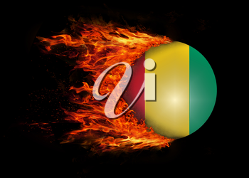Concept of speed - Flag with a trail of fire - Guinea
