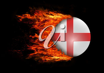 Concept of speed - Flag with a trail of fire - England