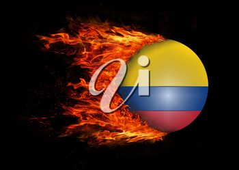 Concept of speed - Flag with a trail of fire - Colombia