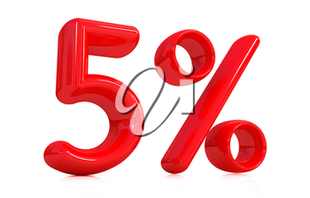 3d red 5 - five percent on a white background