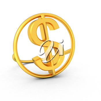 3d text gold dollar icon on a white background