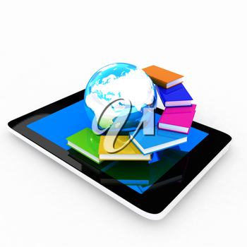 tablet pc and earth with colorful real books  on white background
