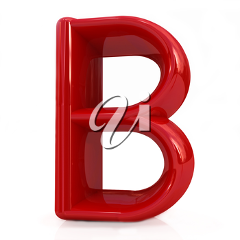 Alphabet on white background. Letter B on a white background
