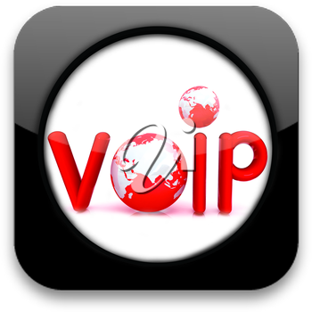 Glossy icon with text VoIP