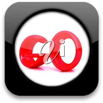 Glossy icon with text go