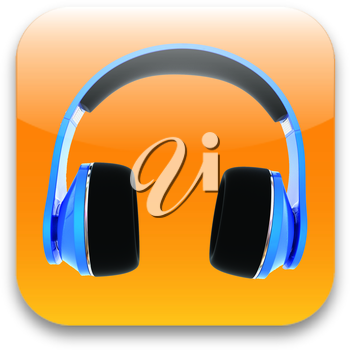 glossy headset web icon design element