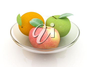 Citrus and apple on a white background