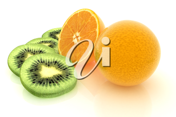 slices of kiwi, orange and half orange on a white