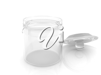 Empty glass jar with cover isolated on white background
