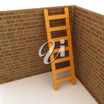 Ladder leans on brick wall on a white background