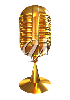 Golden Microphone icon on a white background