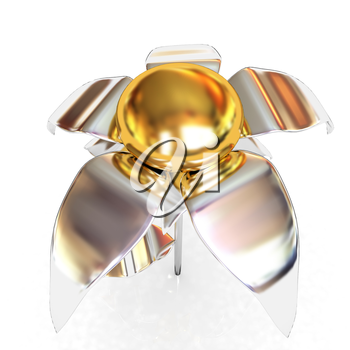 Chrome flower with a gold head on a white background