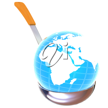 Blue earth on soup ladle on a white background