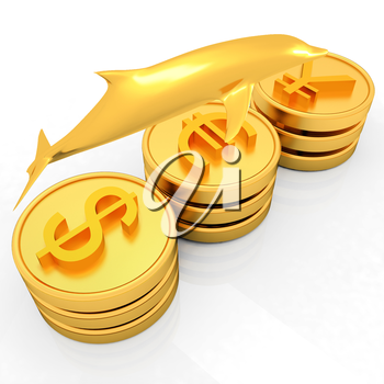 Gold coins with 3 major currencies with golden dolphin on a white background