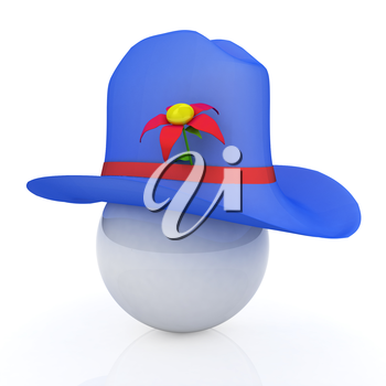Blue hat on a blue hat with fantastic flower on white background. 3d