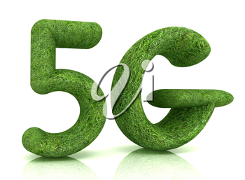 5g modern internet network. 3d text of grass on a white background