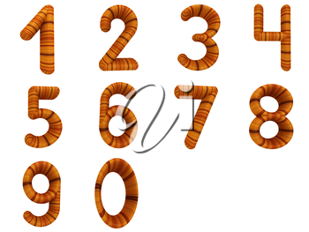 Wooden numbers set on a white background